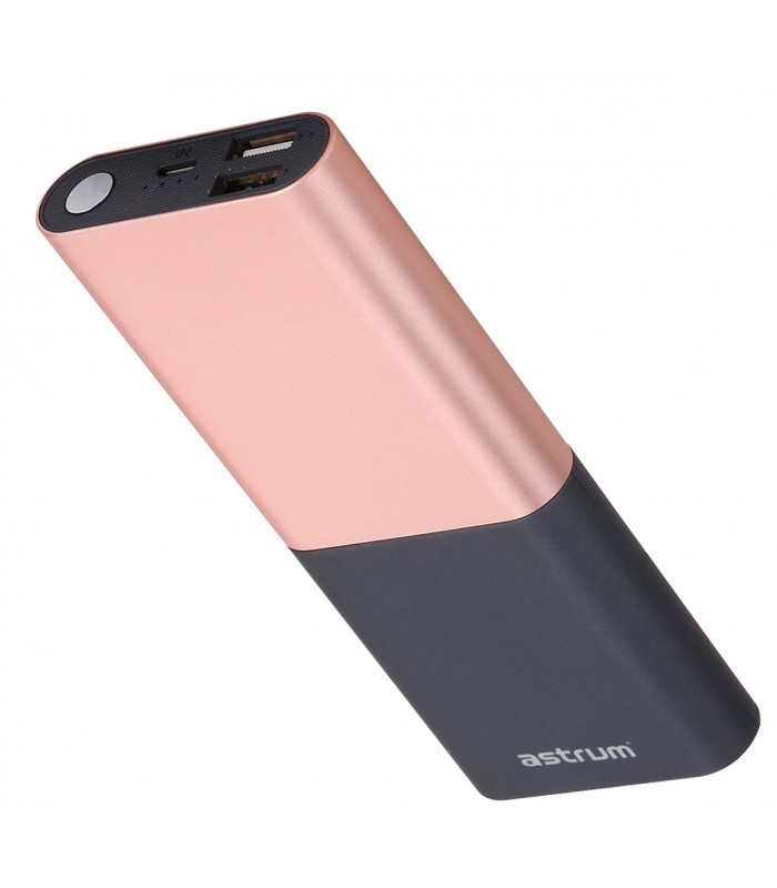 Astrum PB120 V2 Power Bank 10000mAh, Dual USB, 2A Rozéarany